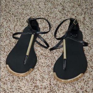 Super cute black flat sandals